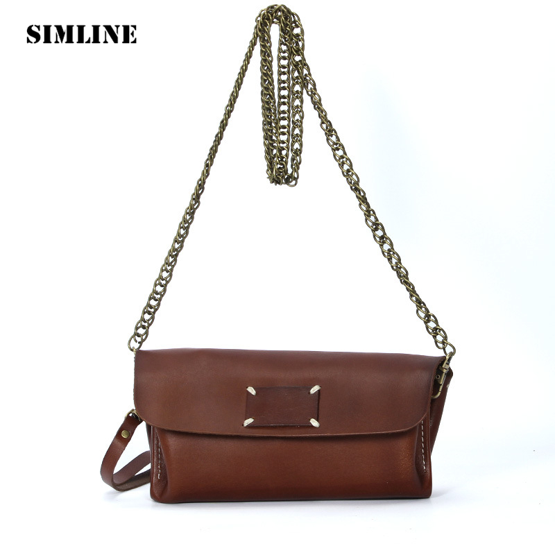 Brand Vintage Genuine Leather Cowhide Women Female Small Tote Chain Handbag Handbags Shoulder Crossbody Clutch Bag Bags Ladies 2017 women bag cowhide genuine leather fashion folding handbag chain shoulder bag crossbody bag handbag party clutch long wallet
