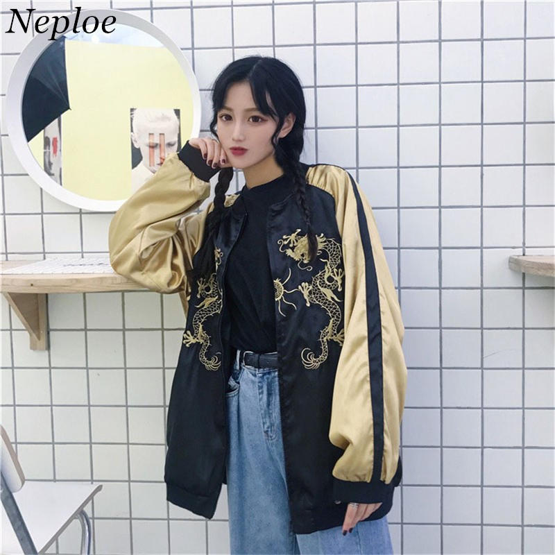 Nicemix 2019 Chinese Style Improved Tang Suit Vintage Couple Korean Womens Clothing Unisex Harajuku Dragon Embroidery Coats Top Jackets & Coats
