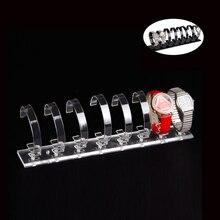 Venta al por mayor alta calidad de acrílico negro / reloj claro soporte de exhibición del estante para 8 unids