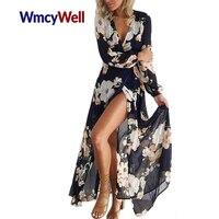 WmcyWell новые женские пикантные Цветочный принт шифон с длинным рукавом v-образным вырезом Boho Вечеринка длиной макси платье Летнее пляжное пла...