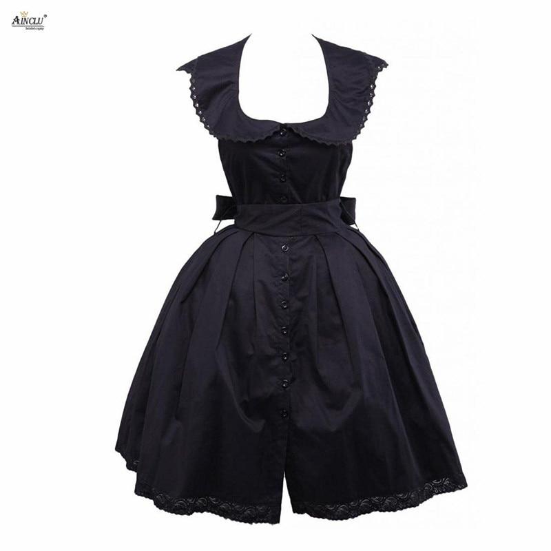 Gothic Fashion Lolita Dress Elegant Court Cotton Black Stretch Waist Sleeveless Open Back Style Cosplay Lolita Dress