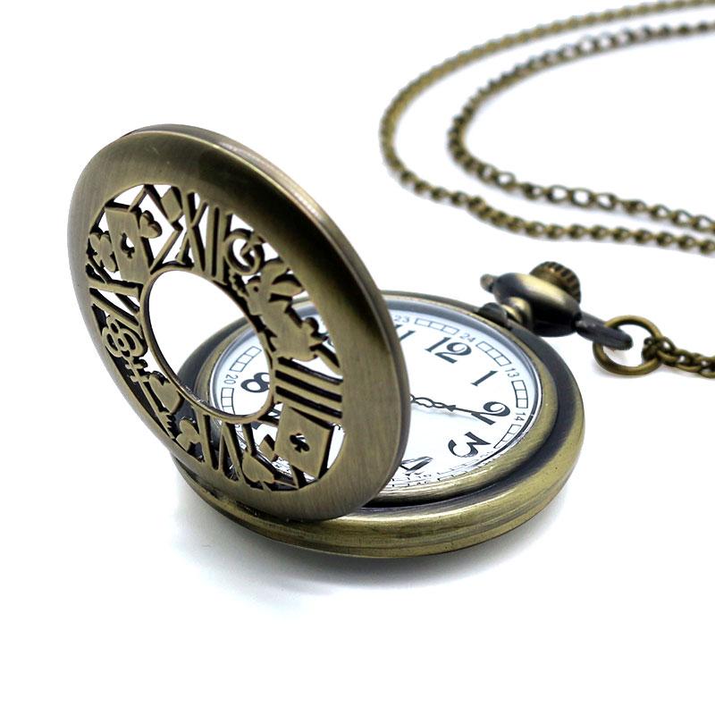 Retro Pocket Watch Bronze Quartz Clock Hollow Necklace Alice In Wonderland Rabbit Flower Half Hunter Antique Style Pendant