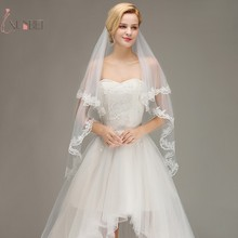 Veu de Noiva Elbow Short Two Layers Wedding Veil With Comb Lace Edge Accessories Cheap Bridal Voile Mariage New