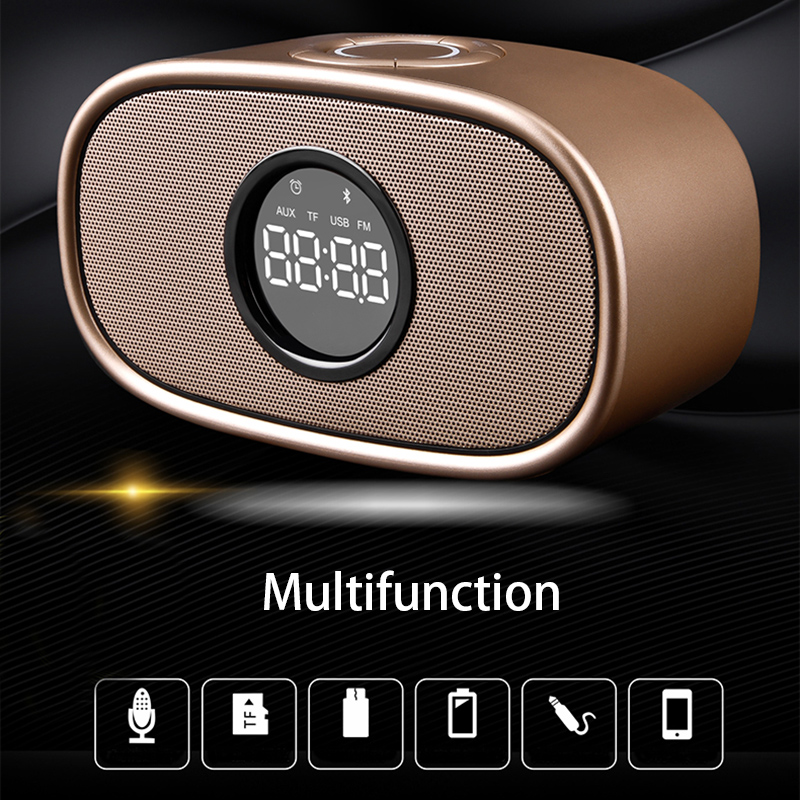 TF Card Playback Wireless Bluetooth 4.2 Multifunction Desktop Alarm Clock Dual Speakers FM Radio Handsfree Mini Subwoofer Clock