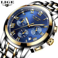 LIGE Watches Men Top Luxury Brand Chronograph Men Sports Watches Waterproof Stainless Quartz Watch Male Clock