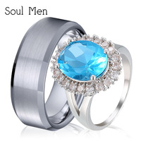 Soul Men 1 Pair Boy & Girl Promised Rings Set 8mm Durable Tungsten Ring for Male Big Green CZ for Female Silver Lovers Jewelry