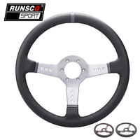 Universal 13.5inch 330mm Racing Light Deep Steering Wheel Auto Leather Simulated Racing Game Steering Wheel RS6024 Leather