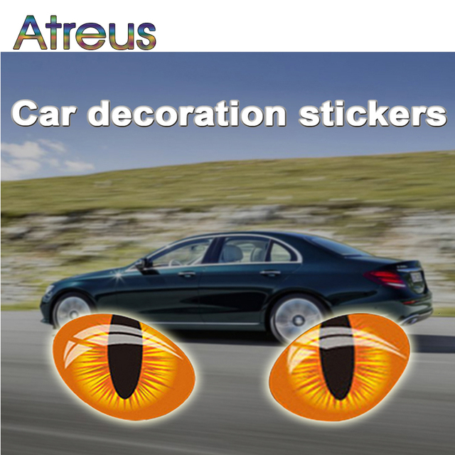 Atreus 2X 3D Cat Eye Car Window Stickers For Toyota Corolla Avensis Seat Leon Jeep Fiat