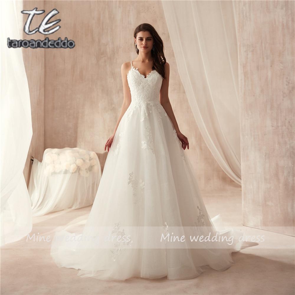 Spaghetti Straps Applique Lace A-line Wedding Dress Vestido De Festa Longo De Luxo Bridal Gowns New Fashinon 2019 New