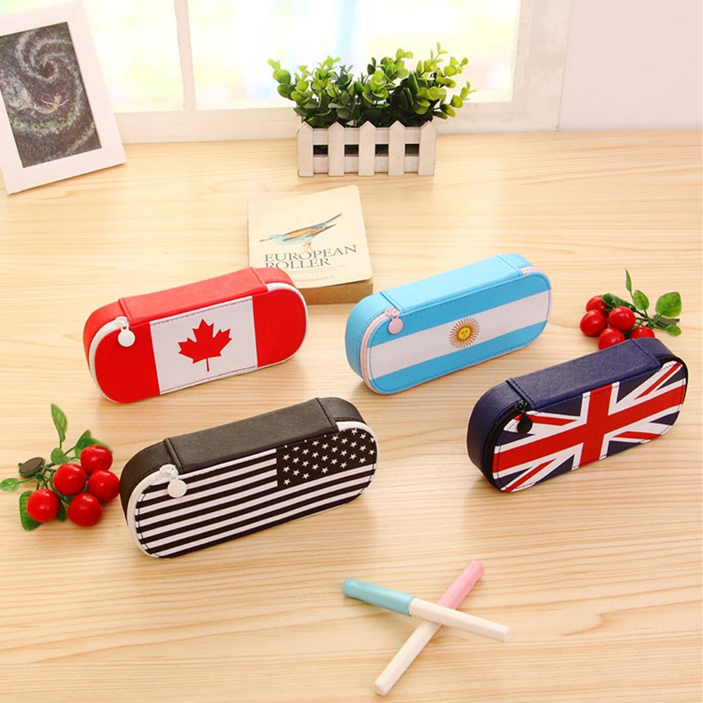 Kawaii Flag Series Pencil Case Cute Pencil Bag Canvas Big Pencilcase for Girls Boys Pen Bag School Supplies Stationery cute kawaii pencil case school pencil bag korean stationery pu leather pen bags box for boys girls
