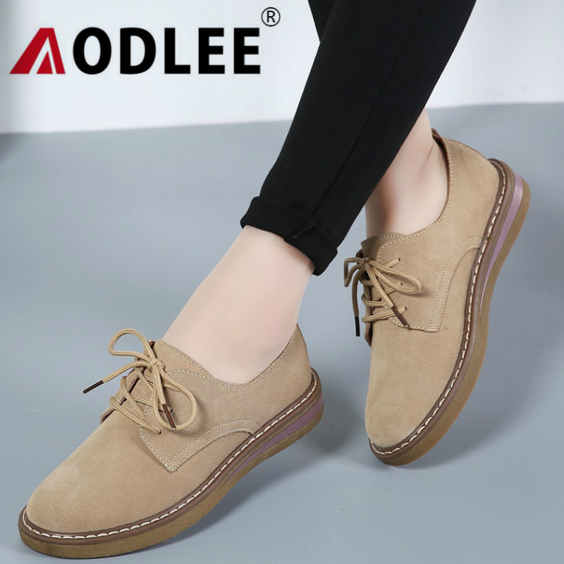 AODLEE Fashion Cow   Suede     Leather   Shoes Women Oxfords Flats Platform Shoes Lace up Autumn Women Loafers Derby Boat   Leather   Shoes