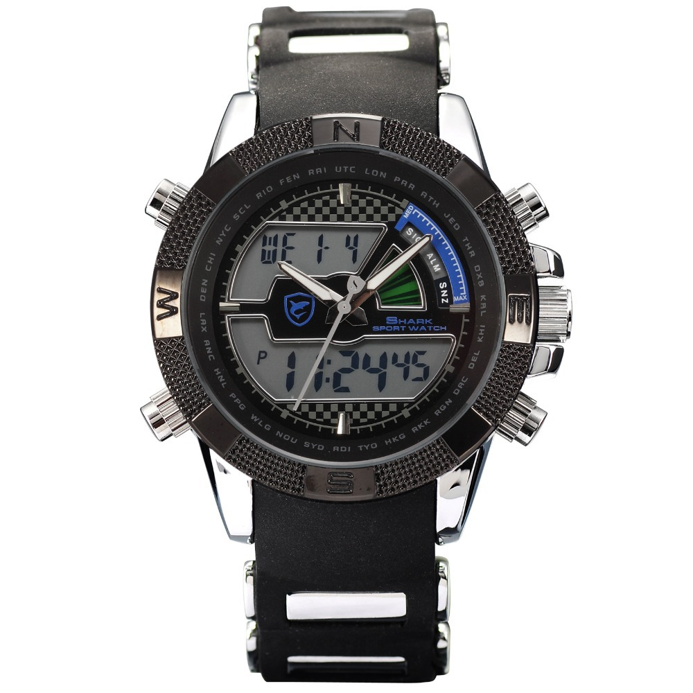 SHARK Sport Watches Brand Digital LCD Dual Time Alarm Male Clock Silicone Strap Relogio Clock Men Military Quartz-Watch / SH180 drop shipping gift boys girls students time clock electronic digital lcd wrist sport watch july12