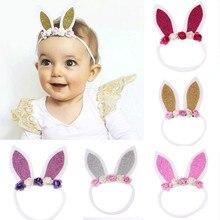 3fb37afcc 2018 جديد الطفل الفتيات أرنب الأذن أغطية الرأس طفل الوليد الاكسسوارات  Hairbands الشعر القوس اكسسوارات(