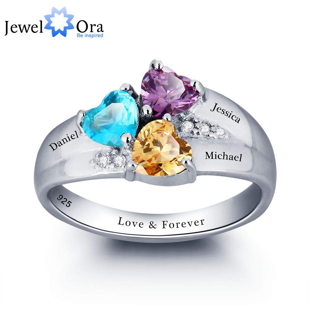 Rings: Personalized Engrave DIY Birthstone Jewelry Heart Stone Name Ring 925 Sterling Silver family Ring Mom's Gift (JewelOra RI101793)