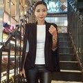 2017 New Fashion Cloak Cape Blazer Women Coat Black Lapel Split Long Sleeve Solid Casual Slim Suit Jacket Workwear E548