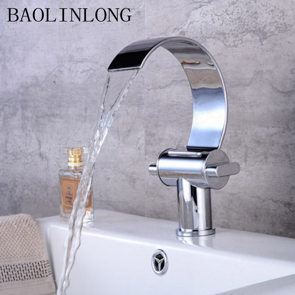BAOLINLONG New Style Brass Deck Mount Bathroom Faucets Vanity Vessel Sinks Mixer Waterfall Faucet TapBAOLINLONG New Style Brass Deck Mount Bathroom Faucets Vanity Vessel Sinks Mixer Waterfall Faucet Tap
