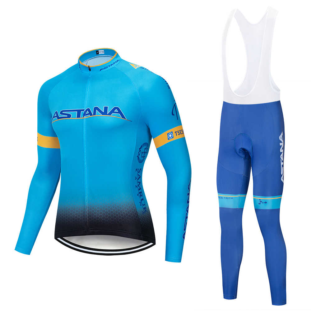 ASTANA 2018 Team long sleeve Cycling jersey Set bib pants ropa ciclismo bicycle clothing MTB bike jersey Uniform Men clothes