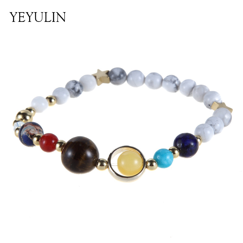 Hot sell Universe Galaxy the Eight Planets Solar System Guardian Star Stone Beads Bracelet for Women Men Bangles Jewelry