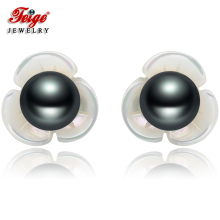 цена New Design Flower Shell Black Pearl Earrings for Women Gifts 6-7MM Freshwater Pearl Pure 925 Silver Stud Earring Wholesale FEIGE в интернет-магазинах