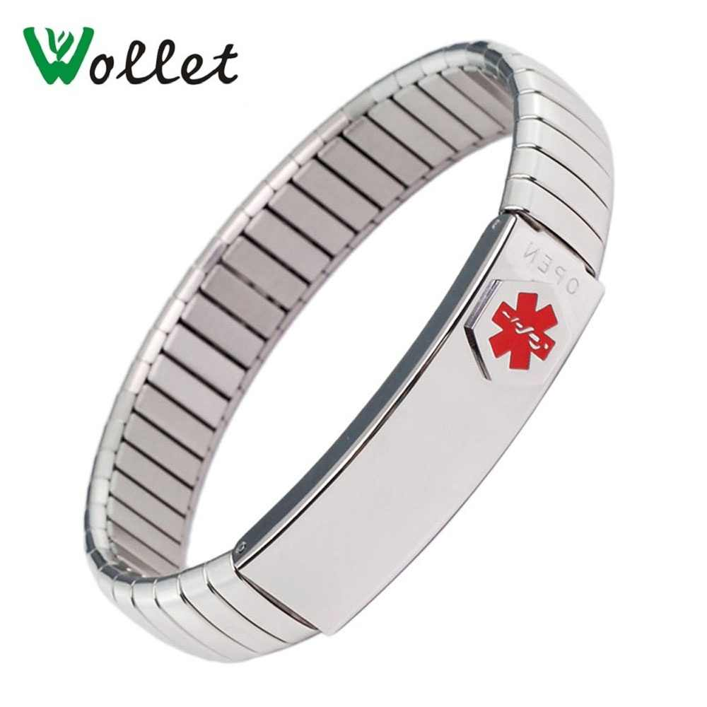 Wollet Jewelry Medical Alert ID Bracelet Bangle for Men Women Silver Gold Elastic Stainless Steel Personalised
