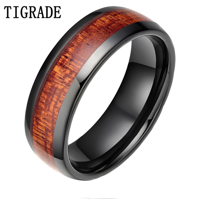 TIGRADE 8MM Black Red Wood Grain Ceramic Ring Men Wedding Band