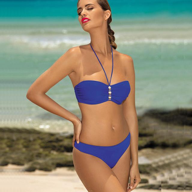 2017 New Sexy Push Up Halter Bikini Set Swimwear With Plus Size 2XL