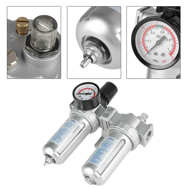 G1/2 Inch Air Compressor Filter Oil Water Separator Trap Tools with Regulator Gauge CLH@8