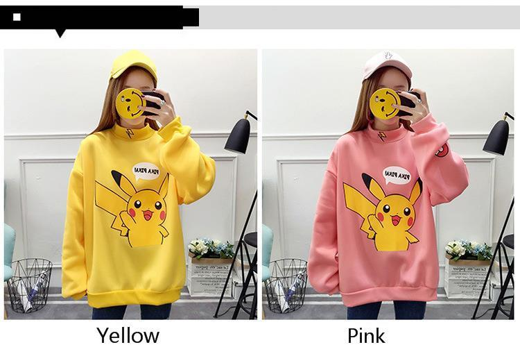 18 Autumn Women Hoodies Turtleneck Pikachu Print Sweatshirts Harajuku Fashion Kawaii Tops Cartoon Pokemon Couples Pullovers 6