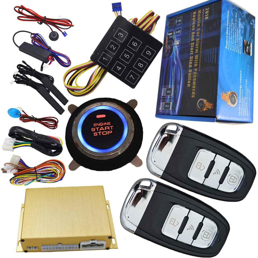 smart car alarm system hopping code smart key protection passive central lock or unlock car door support diesel car start stop auto smart car alarm hopping code car security system auto lock or unlock passive keyless entry push button start stop car