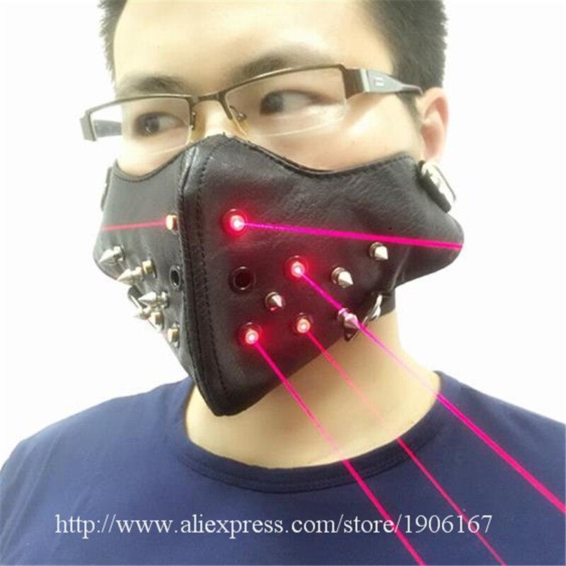 Neueste Rote Laser Maske Leuchtenden Leuchten Laserman Anzeigen Halloween Masken Für Laser bühnenshow Tänzerin Partei Liefert - 3