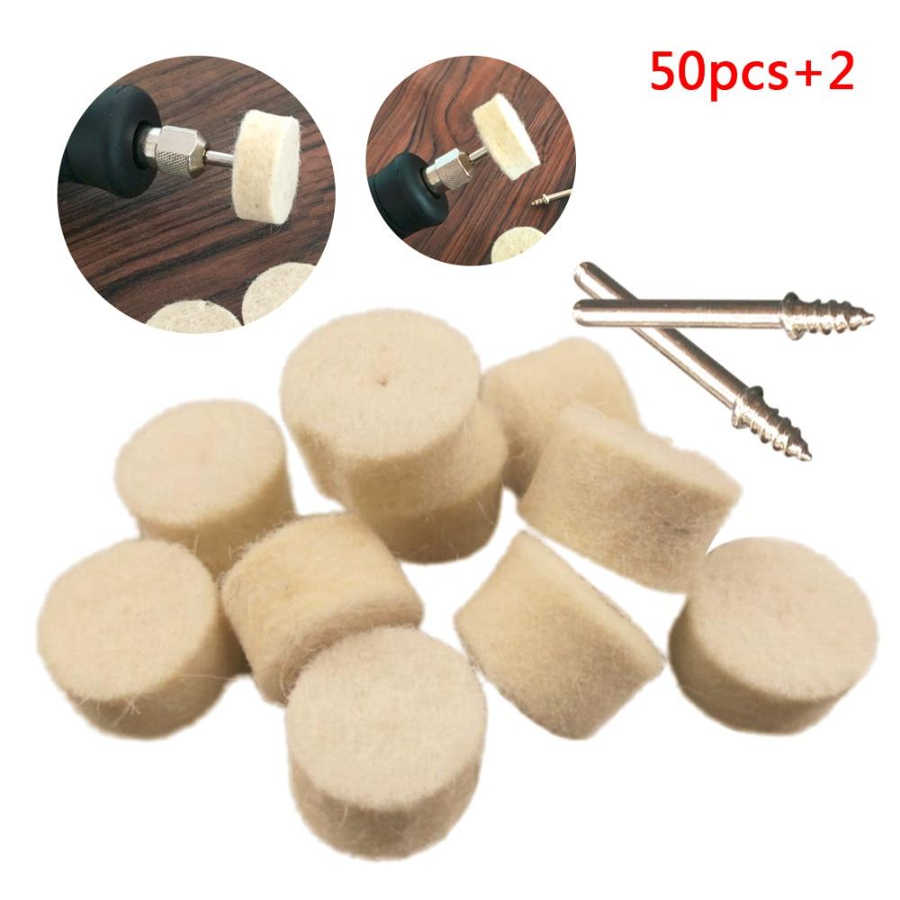 50Pcs 13mm Wool Felt Polishing Buffing Wheel Grinding Polishing Pad+2Pcs 3.2 Mm Shanks For Rotary Tool Accessories