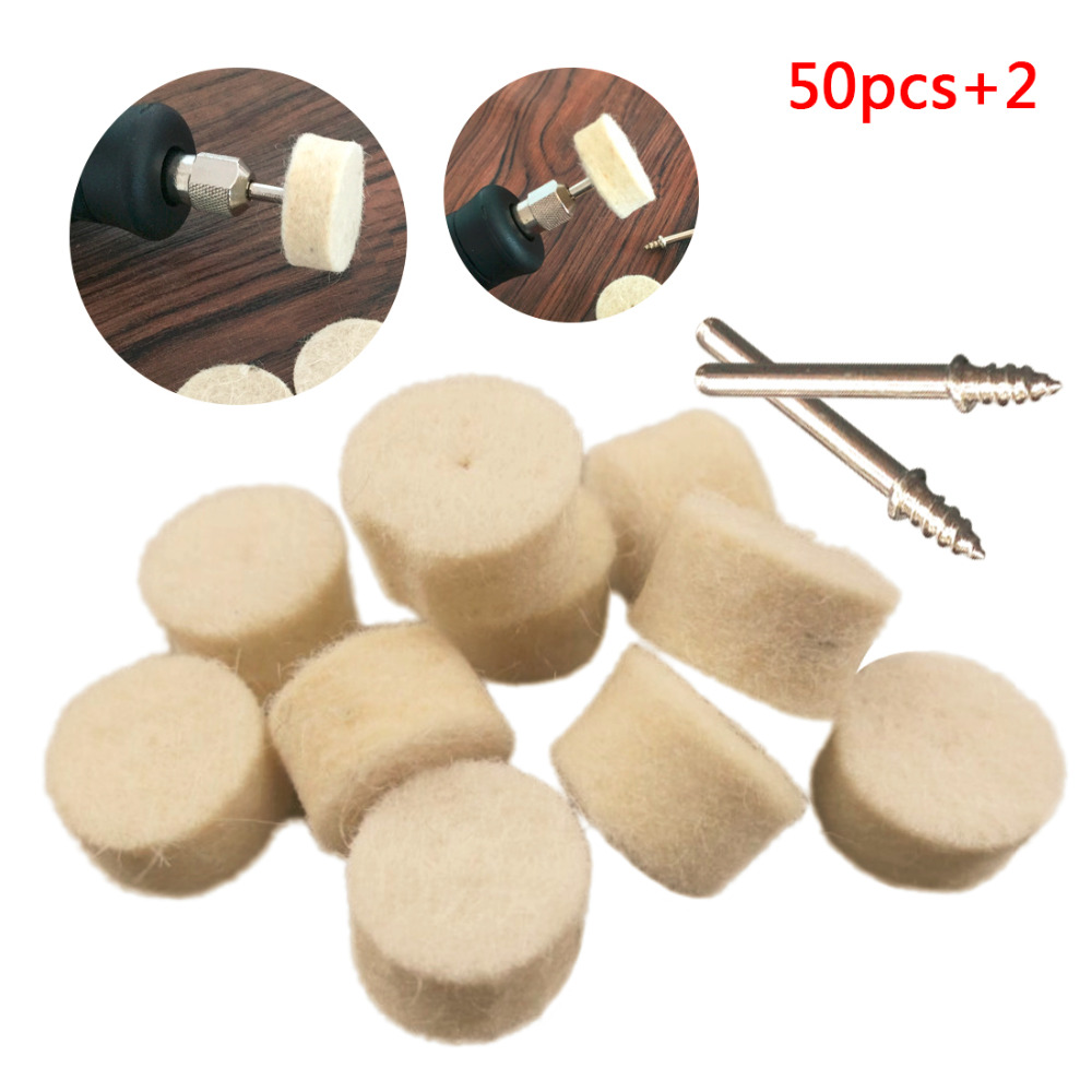 Dremel Accessories 50pcs Grinding Polishing Pad Wool Felt Polishing Buffing Wheel With 2Pcs 3.2mm Mandrel For Dremel Rotary Tool