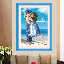 5D DIY Diamond Embroidery Cross Stitch Beach Lovers Kiss Child Bedroom Decorative Painting Mosaic Picture Crystal Round Diamond