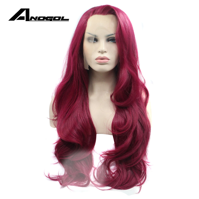 Anogol Synthetic Lace Front Wig Natural Long Wave Wine Red Glueless Handmade Heat Resistant Fiber Fully