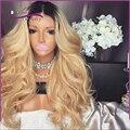 Nuevo estilo de dos tonos ombre rubia Llena Del Cordón Pelucas de Cabello Humano Peruvin virgen cabello ondulado Del Frente Del Cordón Pelucas de Cabello Humano Moda completo pelucas