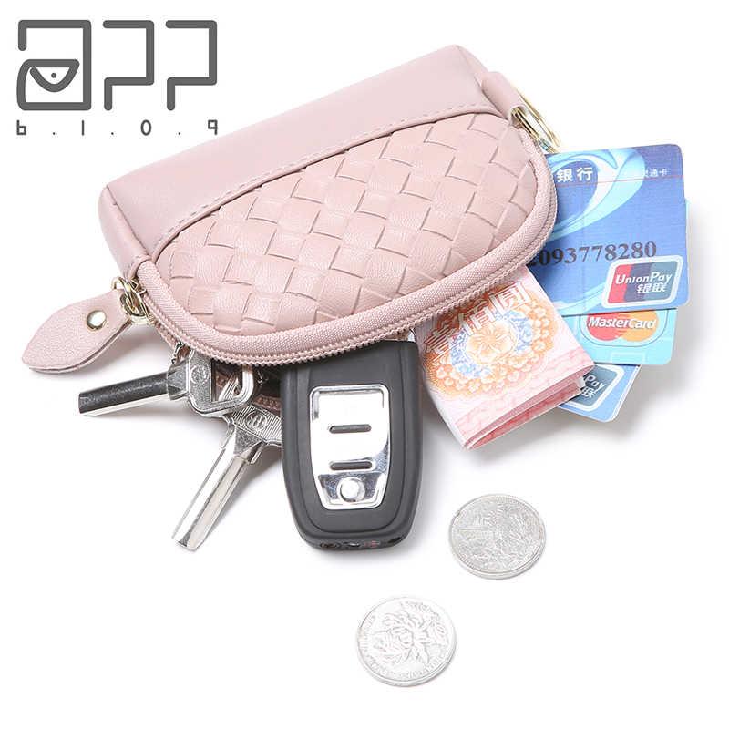 APP BLOG marca de punto de cuero para mujer pequeño monedero con cremallera monedero de viaje Mini bolso de mano de embrague Carteira femenina