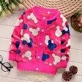 2016 Nova Moda Crianças Camisola dos Bebés Meninas Camisola Crianças Primavera Outono Inverno Camisola Caçoa O Camisola de Decote