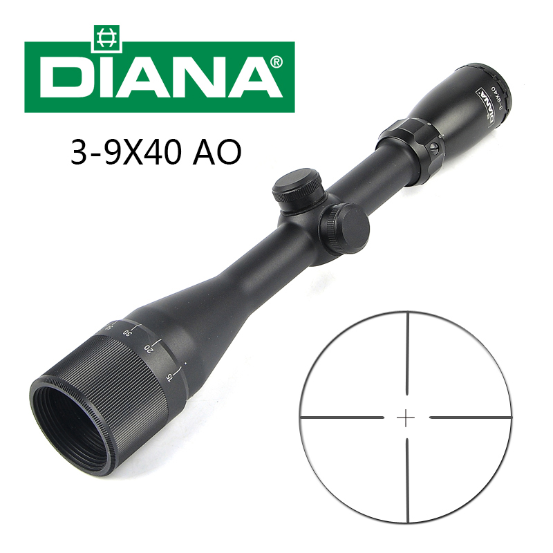 DIANA 3-9X40 AO Tactical Riflescopes Glass Etched Crosshair Reticle Air Sniper Hunting Rifle Scope with Free Mounts mosin nagant pu 4x20 steel riflescope with etched glass reticle crosshair svt 40 hunting rifle scope