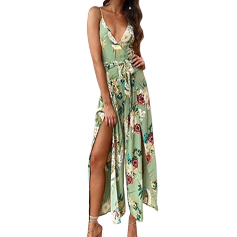 Summer Boho Women Jumpsuits Playsuits Floral Printed Spagehetti Strap Rompers Sexy Side Split Lady Sleeveless Jumpsuit GV078