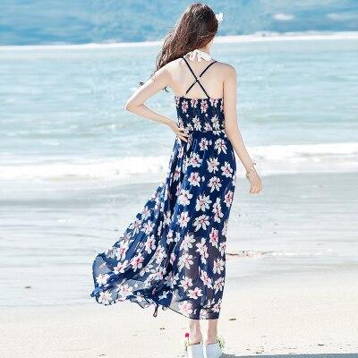 GRUIICEEN nouvelle robe avec mousseline de soie licou robe pour les femmes de plage vacances avec slim beachwear boho robe GY2018853