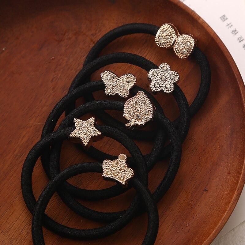 Gold Tone Heart /& White Pearl Bow Black Elastic Hair Band Ponytail Holder