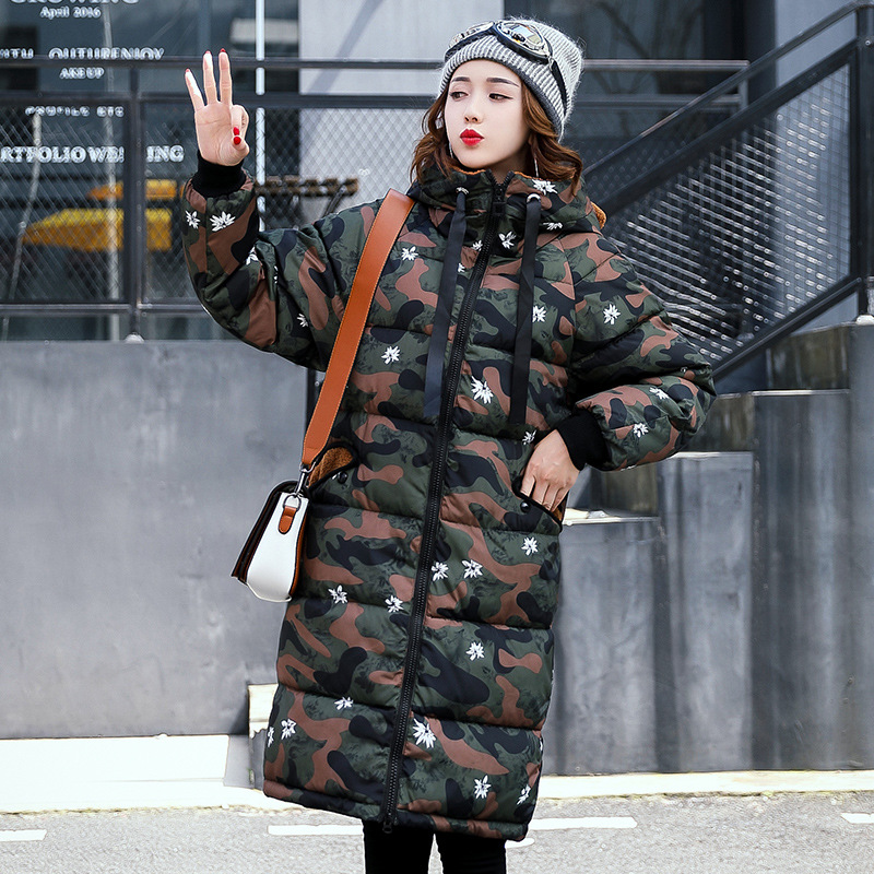 2017 autumn and winter new cotton women long section of large size cotton clothing, loose thick hooded camouflage warm jacket sky blue cloud removable hat in the long section of cotton clothing 2017 winter new woman