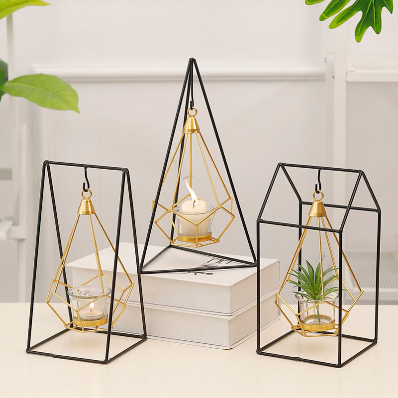 Nordic Golden Geometric Wrought Iron Hanging Candlestick Decoration Home Decorations Candle Table Props Garden