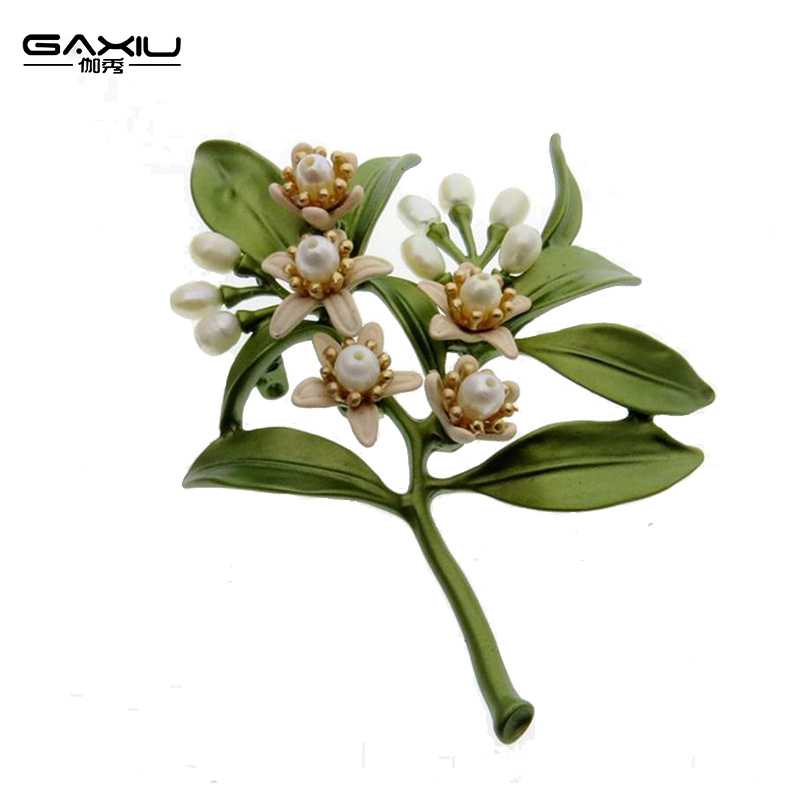 Womens Brooch Vintage Female brooches Jewelry Orange Flower Tree Natural Pearl Brooch Pins Scarves Buckle Accessories Ornament