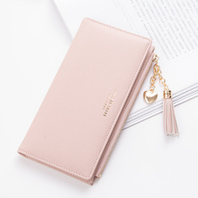 Fashion Solid Women Wallet tassel Wrist Handle Phone Case Long Section Money Pocket Pouch Handbag Womens Purse Card Holders2019