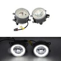 3.5 90MM E4 R87 Round Led Fog Light Assembly Kit W/ Daytime Running Lamp Halo Rings DRL Lightings Xenon White Car Daylights