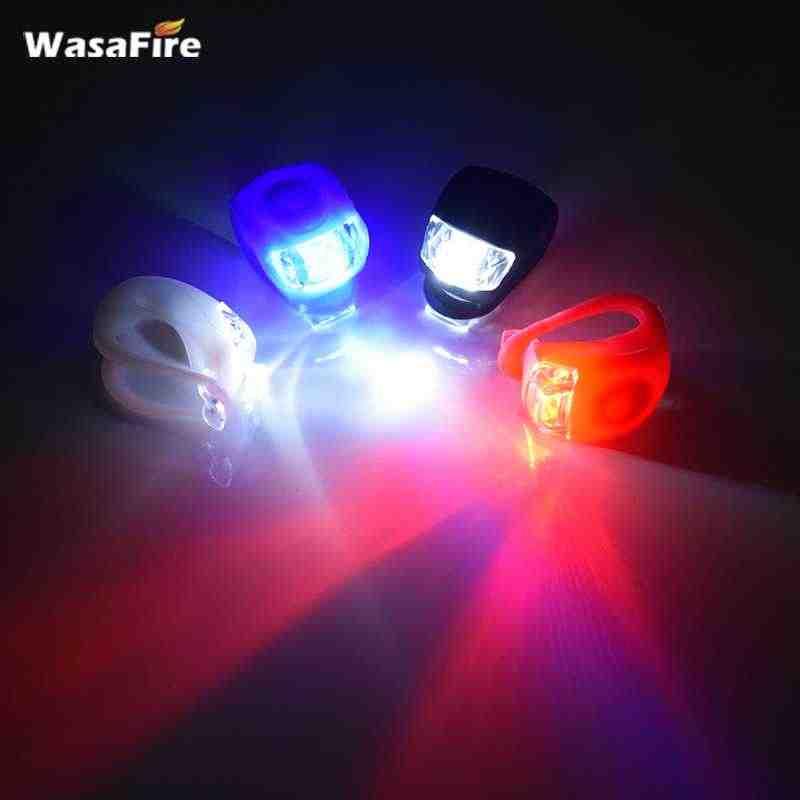 Светодиодный мини-светильник WasaFire для велосипеда, силиконовая велосипедная лампа, фонарь на переднее и заднее колесо, светильник-вспышка, Предупреждение ющий задний светильник
