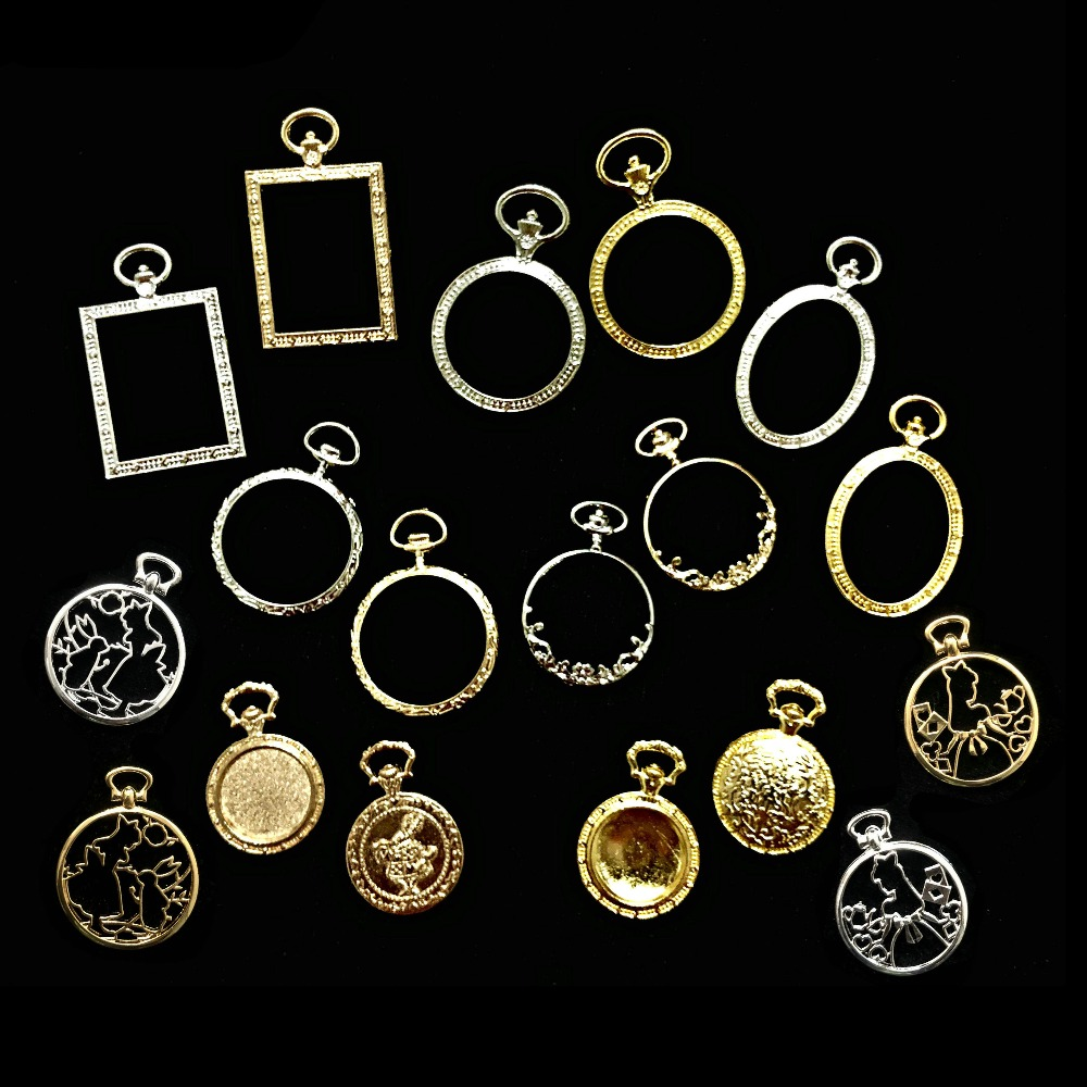 5pcs Metal Square Pocket Watch Bezel Tray Charms UV Resin Craft DIY Accessories Spindrift Lace Round Oval Watch Pendant Jewelry