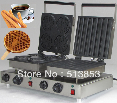 Free Shipping ,2014 hot sale! Doulbe-Head  Electric Churros; round shaped Waffle Maker and bar shaped Machine free shipping high quality doulbe head electric heart shape waffle maker and flower shaped machine baker