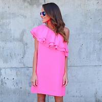 Shirt Mini Dress Summer Loose Casual Beach Dresses Ruffle Off Shouler Tunic Dresses WS243U